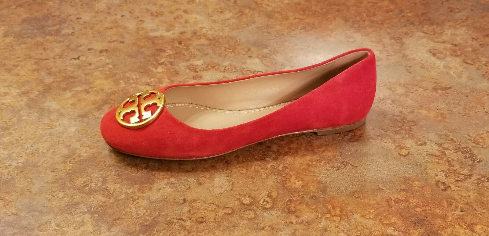 New  Tory Burch 'Chelsea' Ballet Flat Red gold Suede shoes Womens 5 M MSRP  248