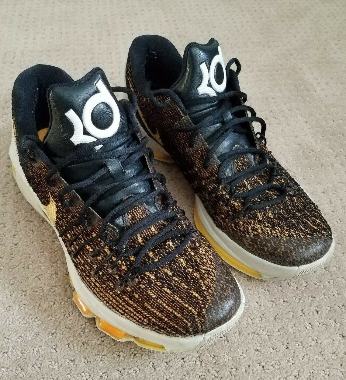 Nike Air Zoom KD Kevin Durant Basket Ball shoes Woven Uppers gold BLACK US 11
