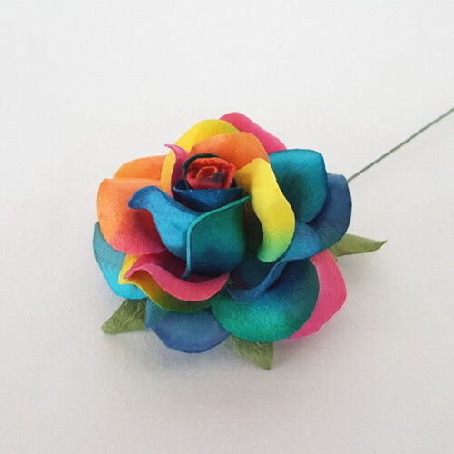 10 Rainbow Paper Flower Wedding Party Headpiece Topper Card Scrapbooking ZR77-RB