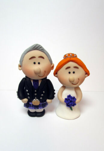 Scottish Bride and Groom Wedding Cake Toppers, with the tartan of your choice