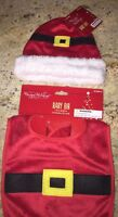 2 Pc Christmas Baby Bib & Christmas Baby Hat Lot Holidays