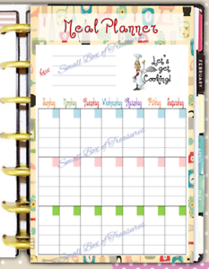 Monthly Meal Planner 2 Sided Dashboard Insert for use with Mini Happy Planner