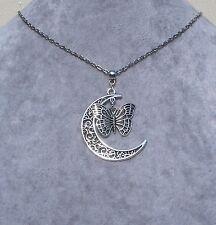 Beautiful Filigree Crescent Moon Tibetan Silver Butterfly Necklace.Handmade
