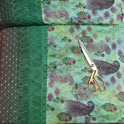"44/"" Digital Paisley Print Chiffon Fabric Broderie Anglaise Dressmaking Fabric"