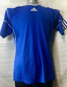 Adidas-Climalite-Tee-Performance-T-Shirt-Men-039-s-Small-Blue-with-White-Stripes-5