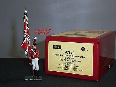 Britains 43141 Giubbe Rosse Inglesi Kings Own 4th Reggimento Di Piede Ensign Figura- Aspetto Elegante