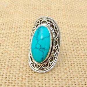 Détails sur Howlite Turquoise 925 Bague Argent UK Taille L 1/2,US 6  Ethnique Bijoux Indien