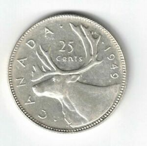 CANADA-1949-25-CENTS-QUARTER-KING-GEORGE-VI-CANADIAN-800-SILVER-COIN