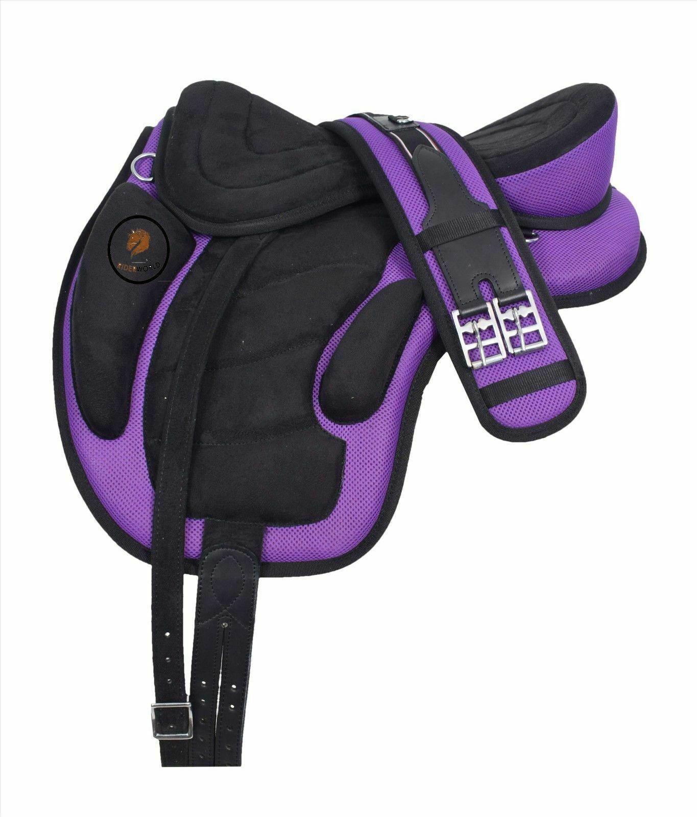 Nueva silla caballo inglés sin árboles Freemax  Sintético Púrpura Negro Envío Gratuito.  todos los bienes son especiales