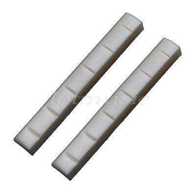 2pcs Acoustic Electric Guitar Bone Nut /6 String Slotted Nuts Gutiar Parts