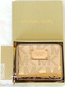 9e75d104c029 NEW MICHAEL KORS ITEMS MIRROR METALLIC ROSE GOLD BIFOLD ZIP AROUND ...