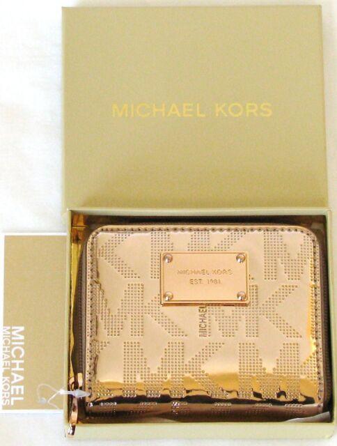 f16312d4236c NEW MICHAEL KORS ITEMS MIRROR METALLIC ROSE GOLD BIFOLD ZIP AROUND WALLET +BOX