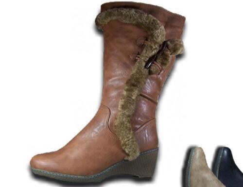 Damen Stiefel Neu gefüttert Keilabsatz Winterstiefel Reißverschluss @25915 DSt