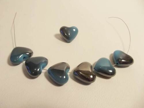 BNAAB03 Turquoise 8 x Lustre Acrylic Puffed Heart Beads with AB shading