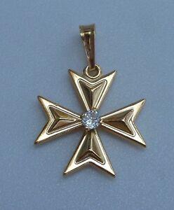 9ct 9k 375 yellow gold maltese cross pendant with stone medium image is loading 9ct 9k 375 yellow gold maltese cross pendant mozeypictures Image collections