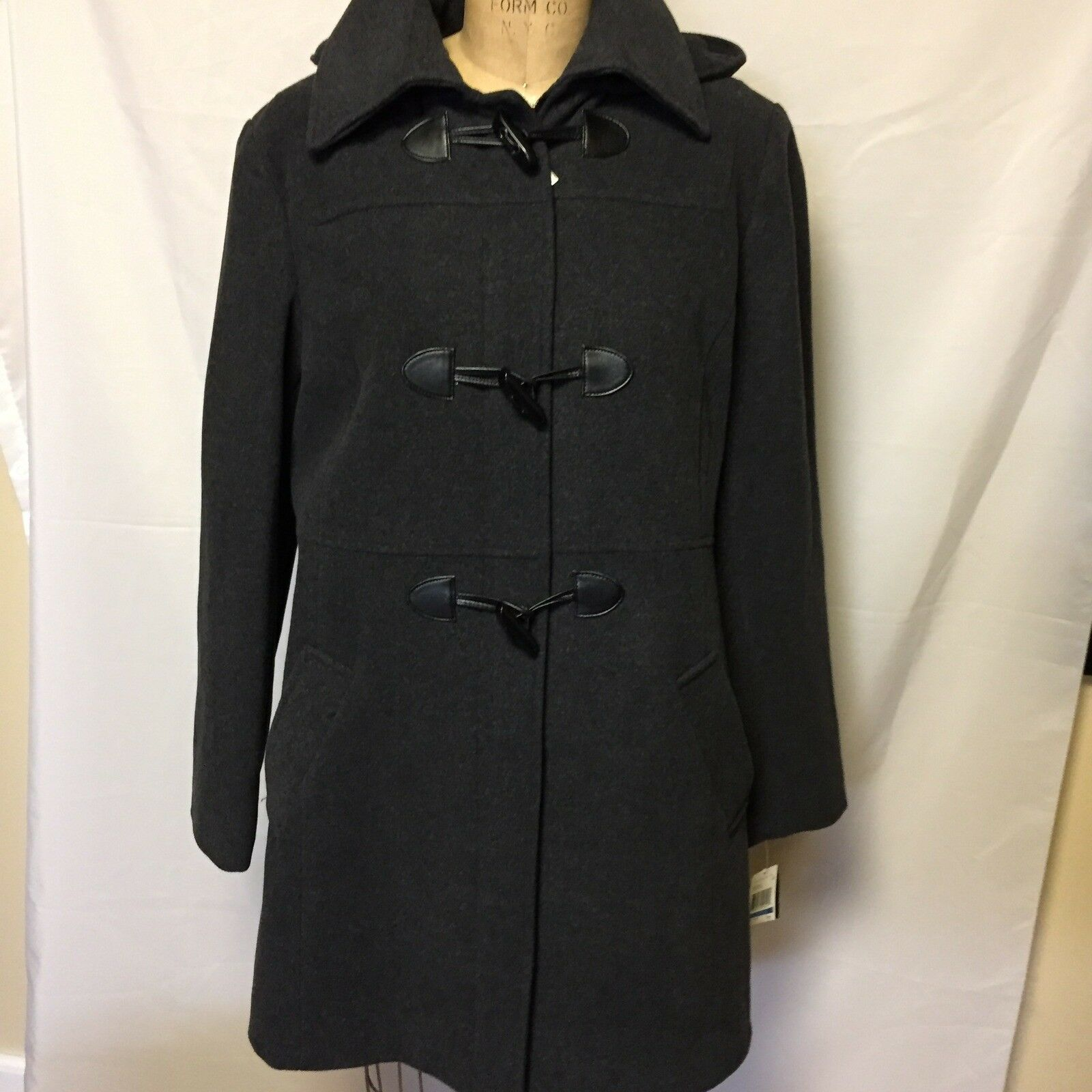 Nautica Hooded Toggle Front Wool Blend Coat Large Charcoal NWT