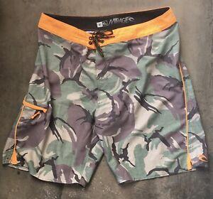 Rip-Curl-Mirage-Camouflage-Camo-Orange-Board-Shorts-Men-s-38-W-Fin-Key-Tool