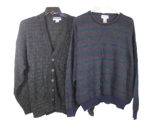 Lot-of-2-Mens-XXL-Long-Sleeve-Sweater-Cardigan-Knitted-Alfani-Munsingwear