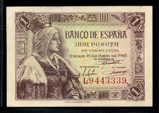 268-INDALO- Banco de España, Madrid. 1 Peseta Junio 1945. Serie L. EBC+ !!!!!!!!