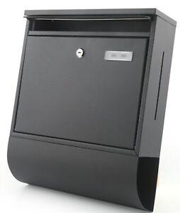 Briefkasten-Letter-Wandbriefkasten-Aluminium-Sichtfenster-schwarz-matt-exklusiv