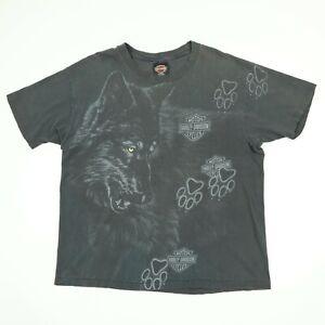 Destroyed-Vtg-Harley-Davidson-Wolf-Paw-TShirt-XL-Faded-Black-Distress-USA-Grunge