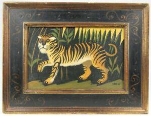 Vintage Original Naive Folk Art TIGER Animal Painting on Board Signed EDEN