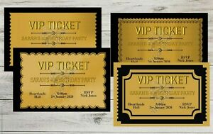 Details About Personalised Vip Ticket Black Gold Birthday Invitations Party Invite Env