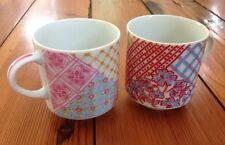 Pair Vtg Patchwork Funky Japanese Porcelain Floral Ceramic Coffee Mugs Tea Cups