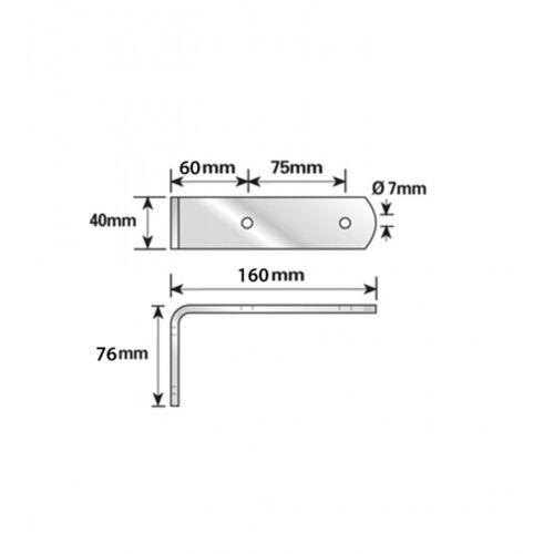 Set of 2 160mm Tandem Steel Zinc Plated Trailer Mudguard Bracket