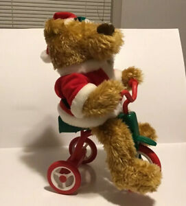Cycling-Santa-Teddy-Bear-Animated-Musical-Bike-Riding-Tricycle-Avon-1997