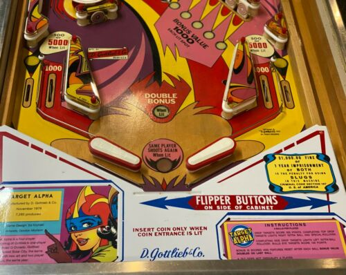 Gottlieb Target Alpha Pinball Custom Apron Cards Instruction Rules Information