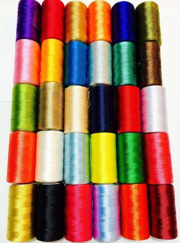 30 Grandes Arte rayón de seda bordado a máquina Hilo fuerte carretes Color sólido