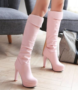 Women Stiletto High Heels Over The Knee Boot Leather Platform Knight shoes Size