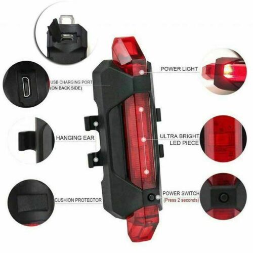 USB Rechargeable Bike Lights Rear Front Warning Light Waterproof 5 LED Red White
