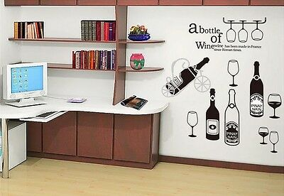 Wine Bottle Home Decor Removable Wall Sticker Decal Decoration Vinyl Mural