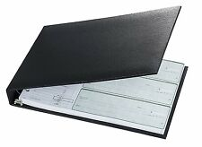 7 Ring 3 On A Page Business Check Book Binder Black New