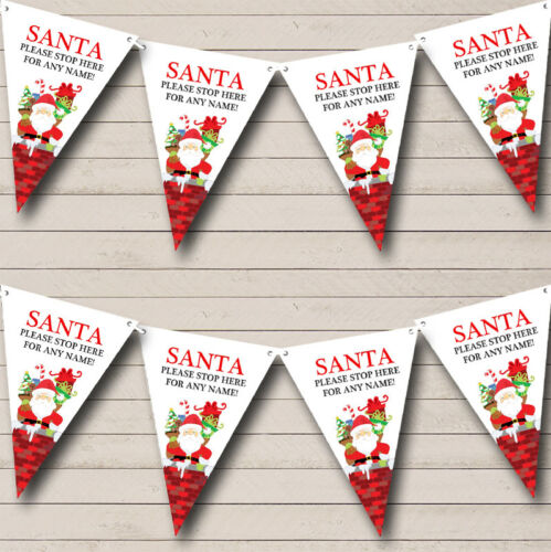 Party Banner Bunting Please Stop Here Santa Personalised Christmas Decoration