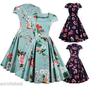 50S-ROCKABILLY-DRESS-Vintage-Retro-Swing-Pinup-Cocktail-Party-PLUS-SIZE