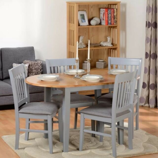 Extending Dining Table And Chairs 4 Padded Seat Large Round Oak Wooden Room Set