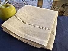 "Antique French Homespun Rustic Linen Dish Towel Floral Damask Drawnwork 19x30"""