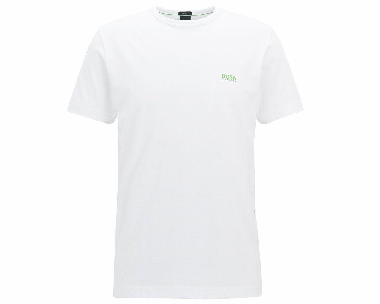Hugo Boss Grün Tee 50245195 100 Regular Fit Crew Neck Mens T-Shirt Weiß
