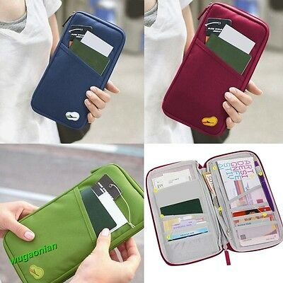 Travel Wallet Passport Credit ID Card Cash Holder Document Organize Bag 4 Colors
