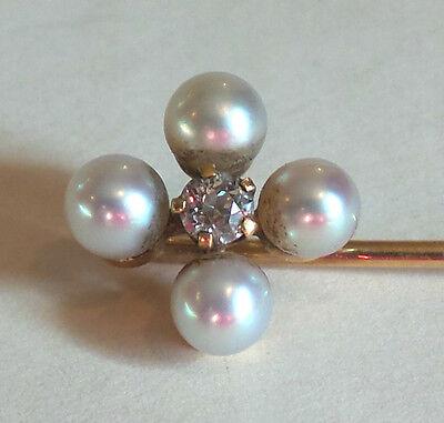14k Gold Anstecknadel, (4) Perlen Mit Authentisch .10 Ct Zacken Fassung Diamant
