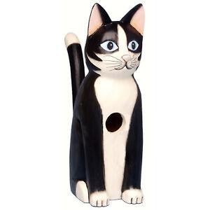 SEATED BLACK & WHITE TUXEDO CAT BIRD HOUSE - TUXEDO CAT BIRDHOUSE - GARDEN DECOR