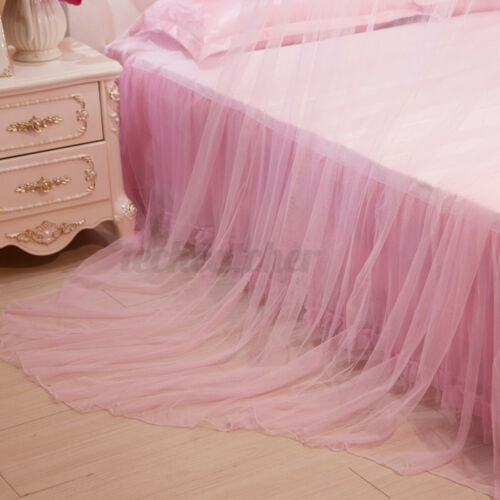 Mosquito Net Bed Queen Size Hanging Bedding Lace Canopy Elegant Curtain Princess