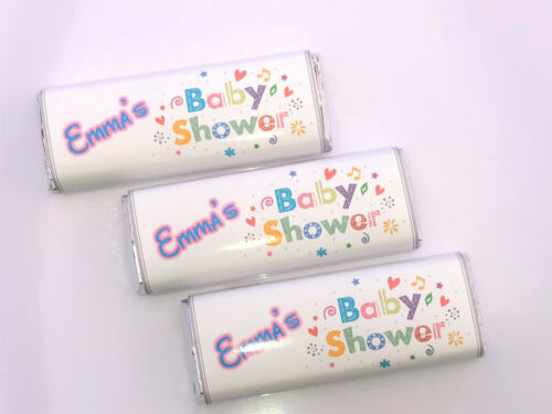 Ref B7kk 36 Personalised Unisex Baby Shower Chocolate Bar WRAPPERS Favours