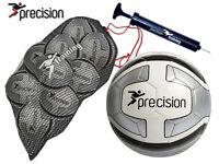 10 X Size 5 White/silver Precision Santos Training Football +1 Ball Bag + Pump