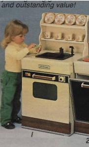 1986 Vintage sears kenmore Horno fregadero de cocina NUEVO Lil Hutch en Caja Juego Juguete 10016