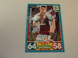 Match Attax 2017//2018 Ashley Westwood Burnley no 64