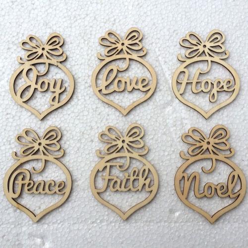 6pcs Wooden Laser Cut Faith Noel Tags Christmas Tree Hanging Decor Ornaments